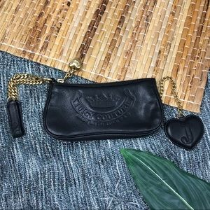 Juicy Couture Black Leather Gold Chain Wristlet